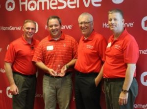L to R: Sylvester Criscone, VP Contractor Management & Administration, HomeServe; John Jeffcoat, Owner, Eagle Service Company; John Kitzie, COO, HomeServe; Dennis Tillett, Southeast Regional Operations Manager, HomeServe